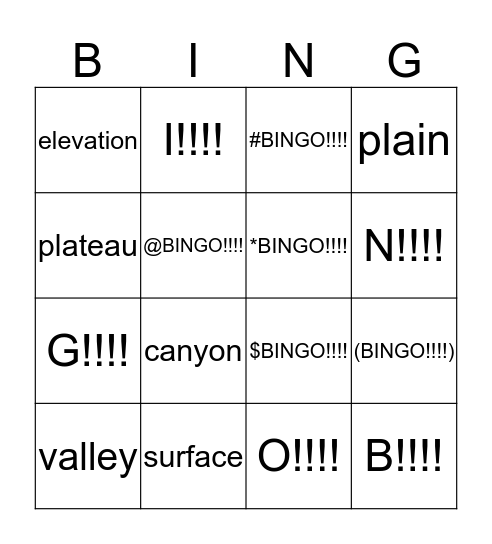 unit 2 vocabulary bingo 3 Bingo Card