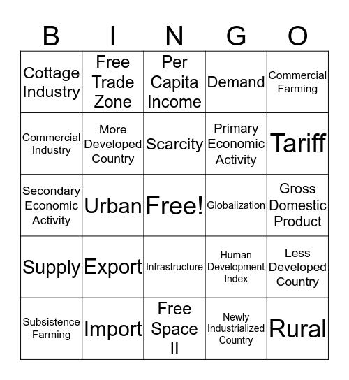 Unit Five Vocab Introduction Bingo Card