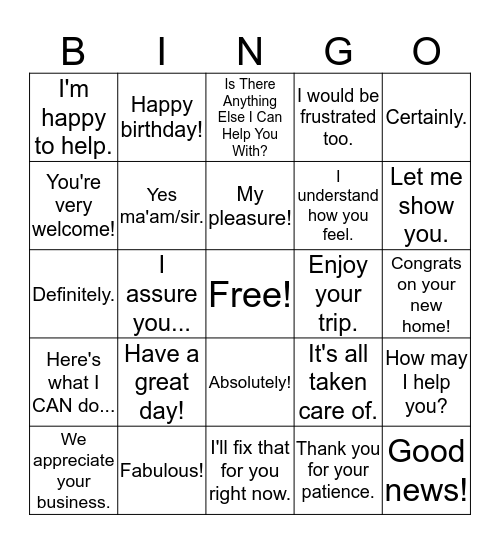 Positive Lingo Bingo! Bingo Card