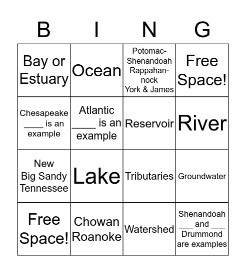 Watershed and Water Resources  Bingo Card