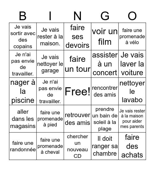 Les Activités du Week-end Bingo Card