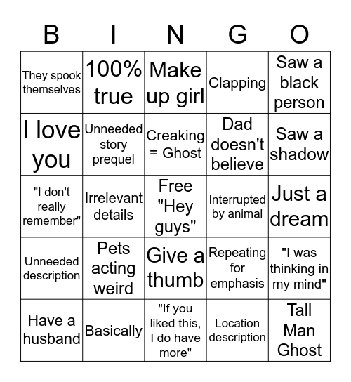 White Girl Ghost World Bingo Card