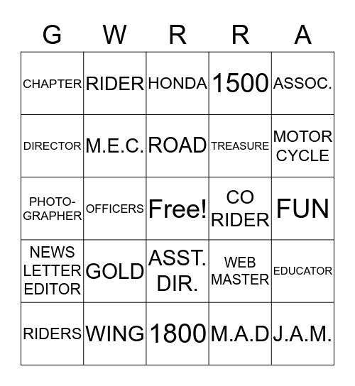 "CHAPTER ILLINOIS ""R"" Bingo Card"