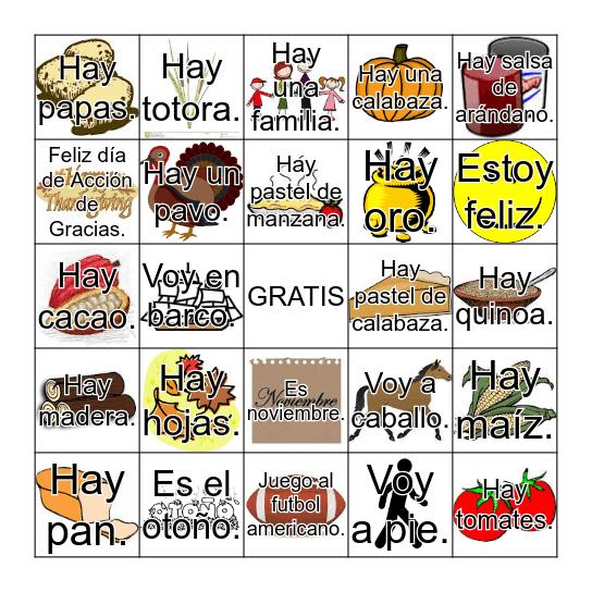 4to grado Bingo Card