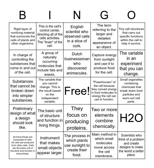 Science Terms   Bingo Card