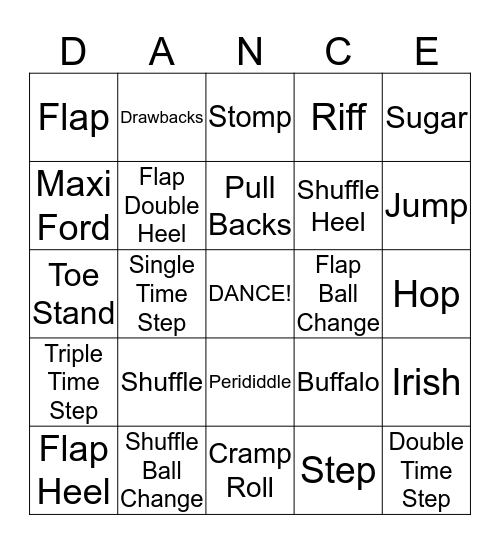 Tap Dance Bingo Card