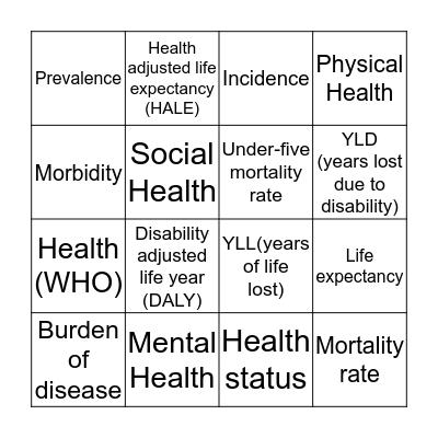 Health Early Start Bingo Card