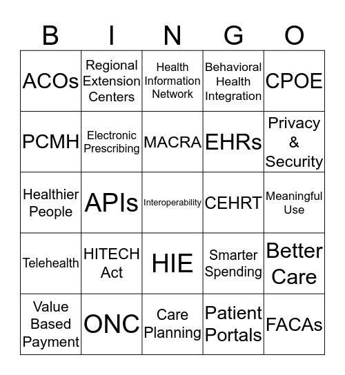 Health IT Bingo Card