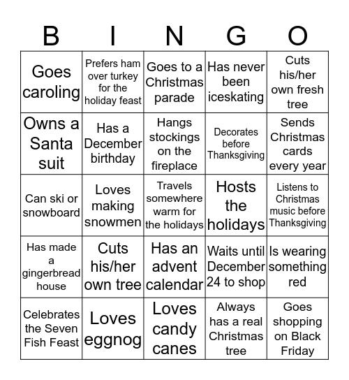 C&S Holiday Bingo Card