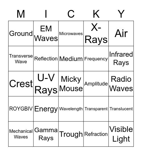 Micky Mouse Bingo Card