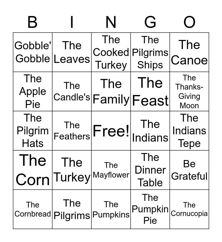 Thanksgiving Bingo Card