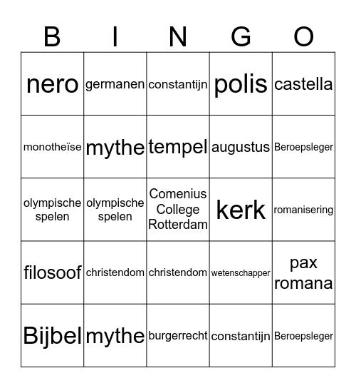 Geschiedenis Bingo Card