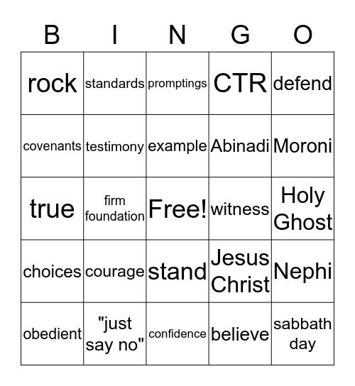 Standing as a Witness Bingo Card