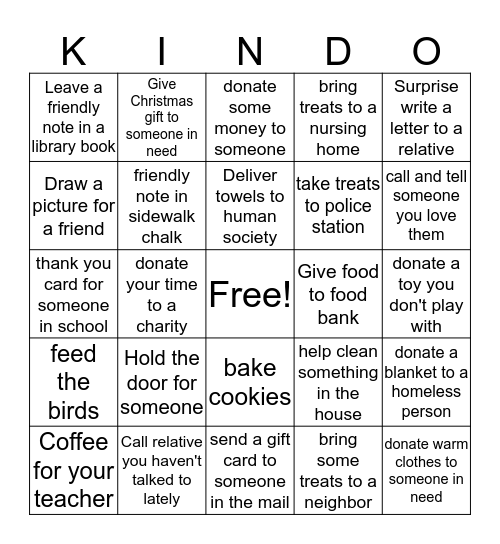 24 Days of Kindness Bingo Card