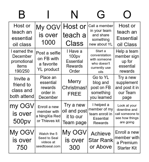Young Living Christmas Bingo! Bingo Card