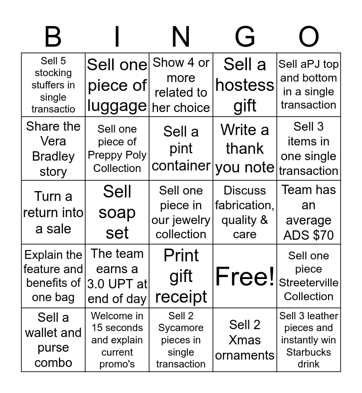 Jingle Bingo Card