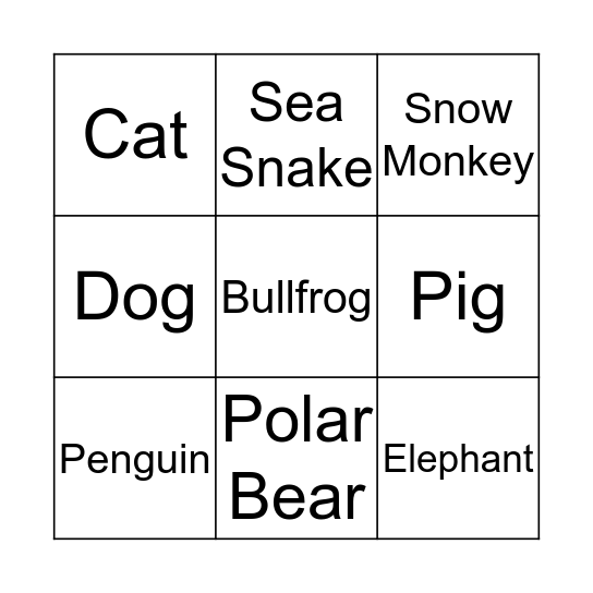 Swimmers Bingo Card