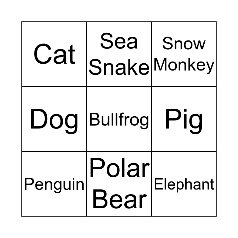 Swimmers Bingo Card
