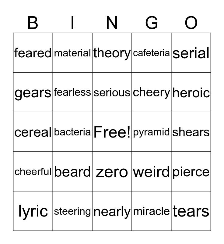 ire Words Bingo Card