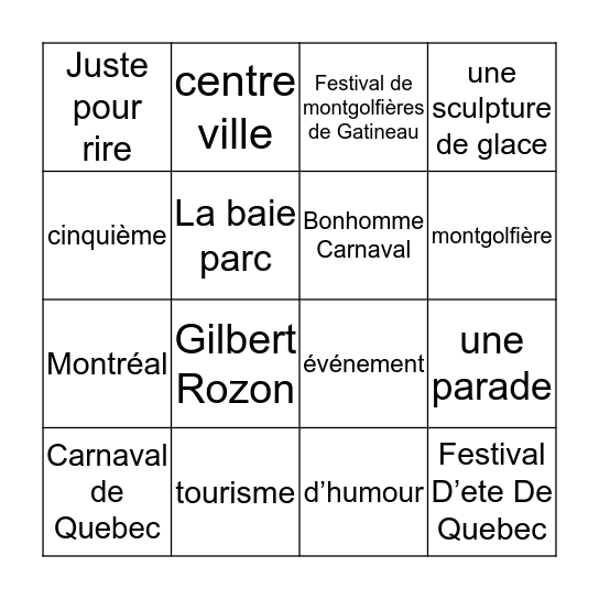 Les Festivals québécois Bingo Card
