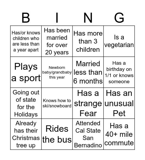 Reception Services Bingo Card