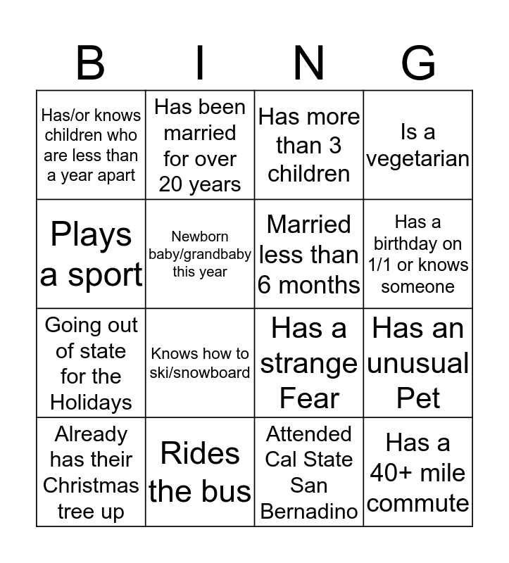 Reception Services Bingo Card