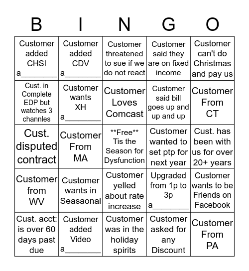 Name:_____________   Disco. Bingo (please provide acct. # for anything with a______ at the bottom) 1 Square Per Account Bingo Card