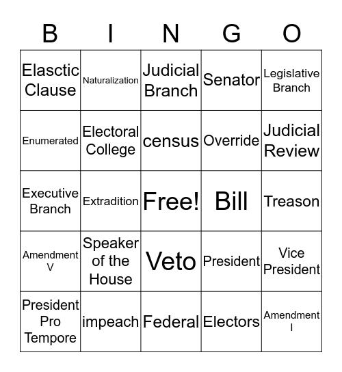 Constitution Bingo Card