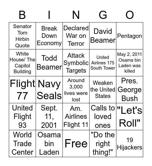 9/11 Bingo Card