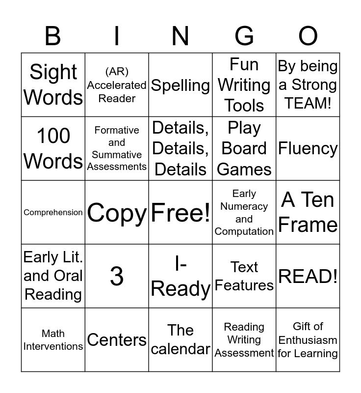 Family Literacy Night BINGO!!! Bingo Card