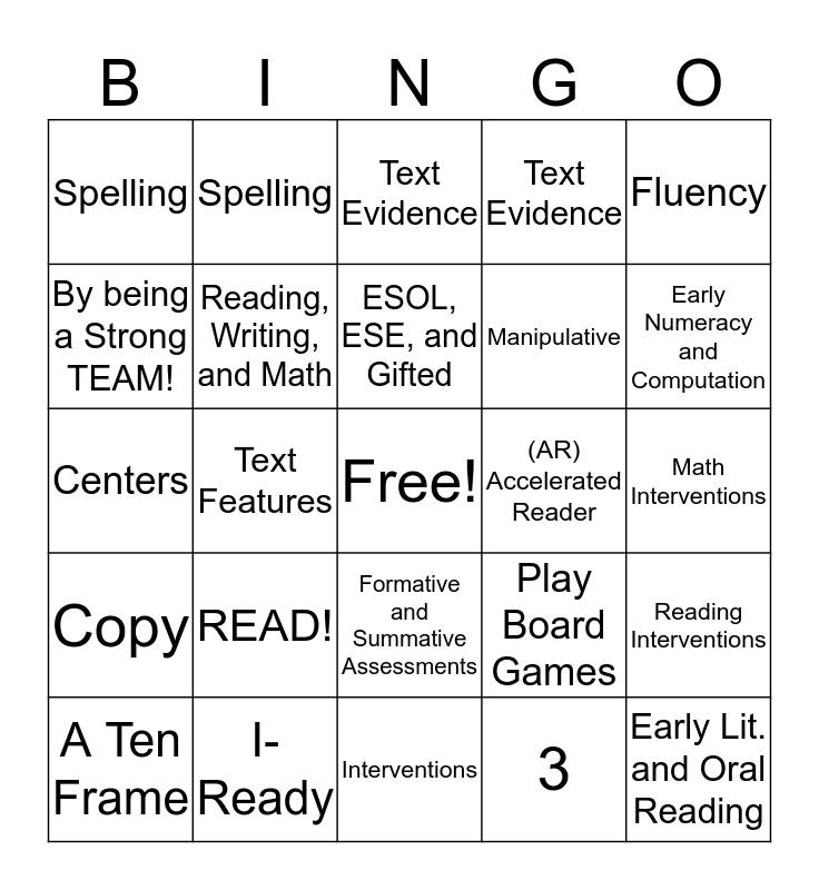 Family Literacy Night BINGO! Bingo Card