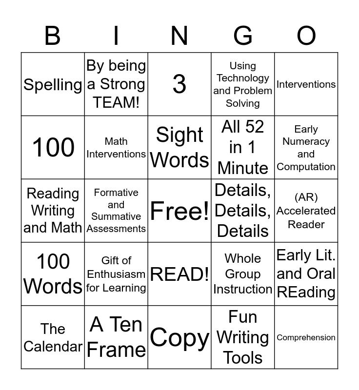 Family Learning Night BINGO! Bingo Card