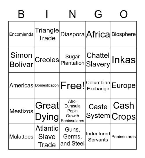 Colonization of Latin America Review Game Bingo Card