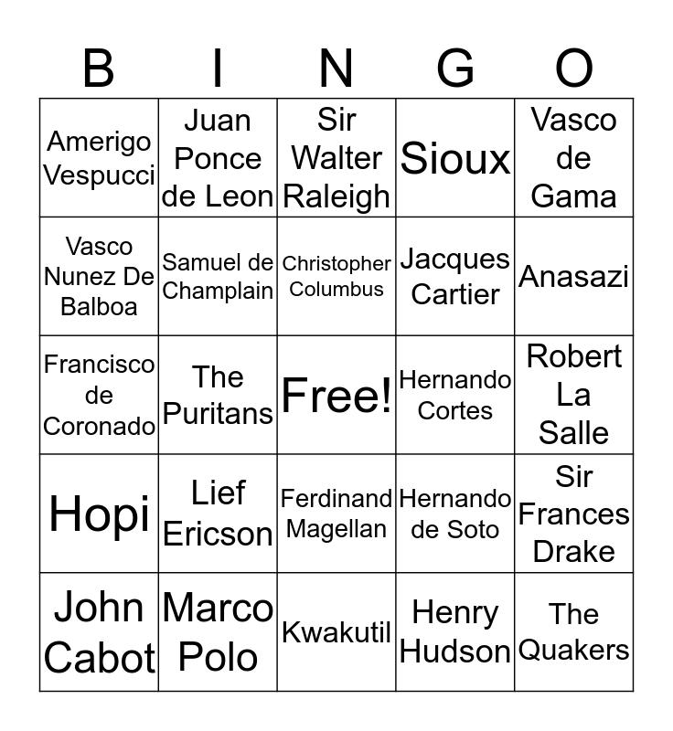 explorers Bingo Card