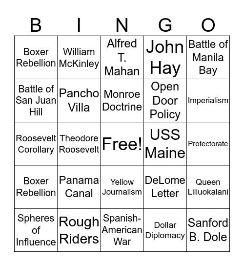 American Imperialism Bingo Card