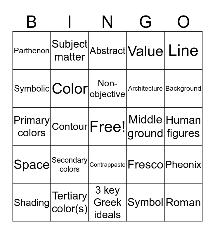 Art Comp Bingo Card