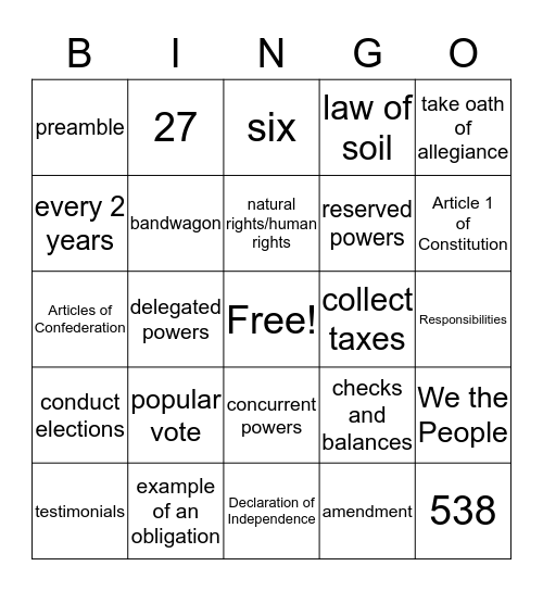 Midterm Review Bingo Card