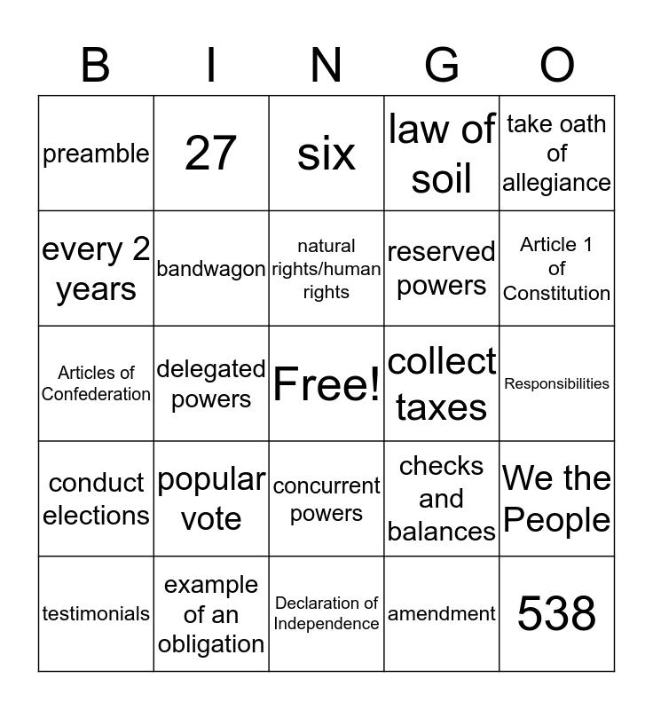 Midterm Review Bingo Card