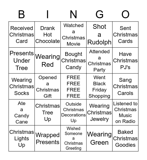 Christmas Fun Bingo Card
