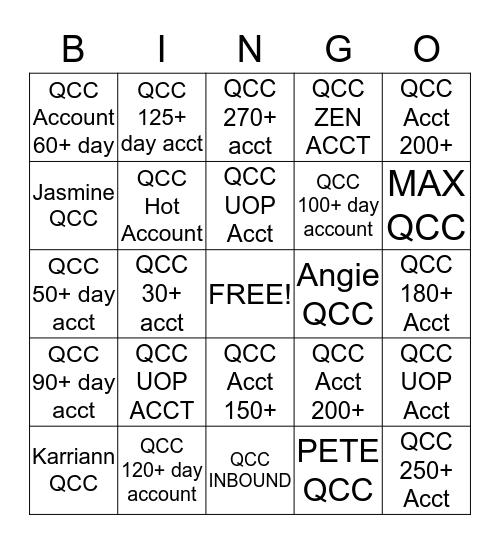 QCC BINGO Card