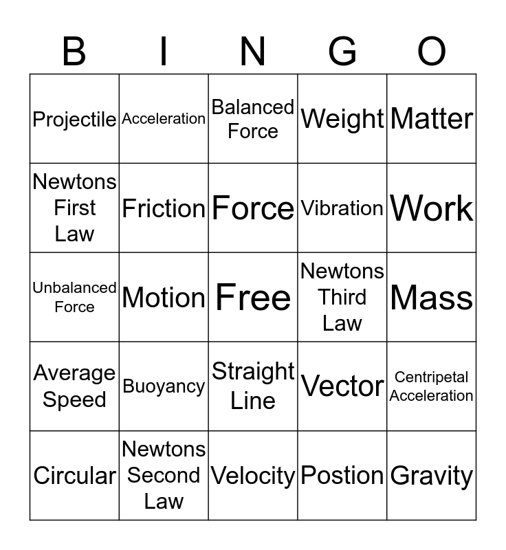 Force and Motion BINGO Card