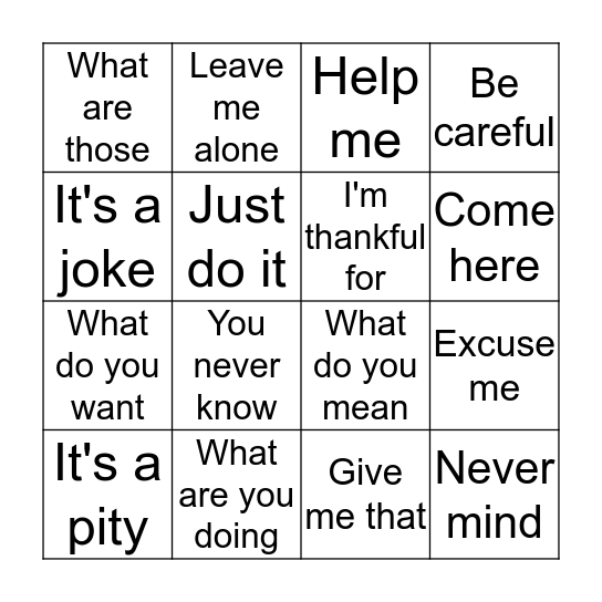La Frases De Hoy Bingo Card