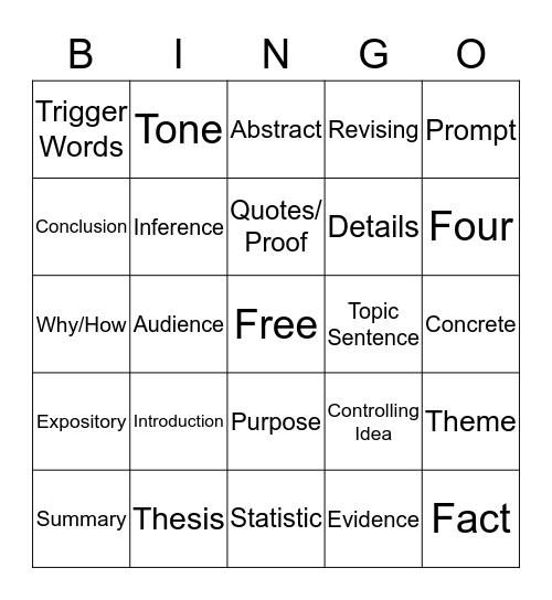 Review Bingo  Bingo Card