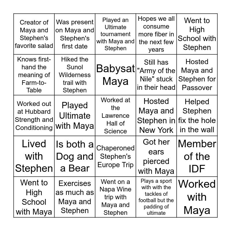 Maya and Stephen's Guest Bingo Card