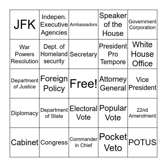 Ch 6:Executive Branch Bingo Card