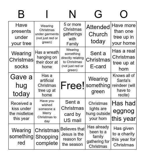 Farrell Christmas Bingo Card