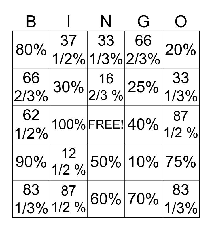 Fraction/Percent Bingo Card