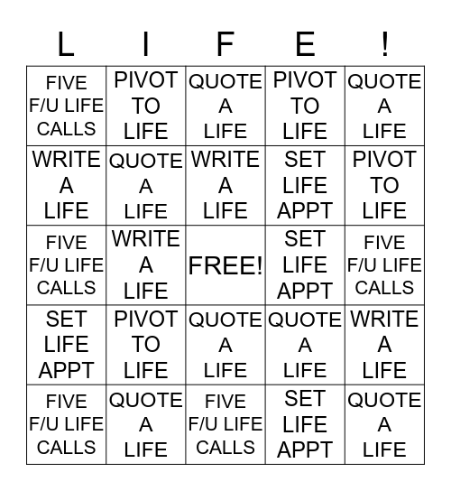 FAST START TO LIFE Bingo Card