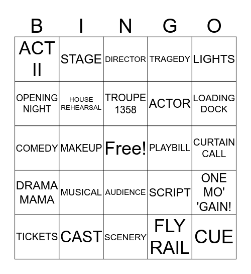 PIPER DRAMA BINGO Card