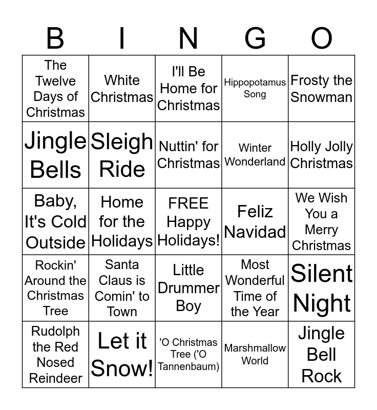 HOLIDAY SONG Bingo Card
